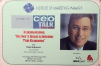 "View the album ceoTALK - ""Neuromarketing: Helping to Engage & Influence Your Customer"" by Peter Burow, Chairman Neuropower Group, 27 February 2014 @ Menara Kuala Lumpur"